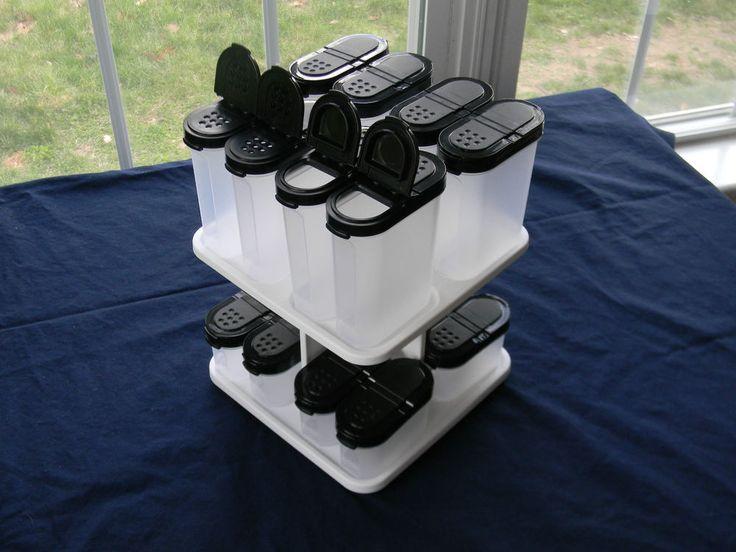 Tupperware Spice Shakers & Carousal Set 8 Large & 8 Small & Black Seals $80v NEW