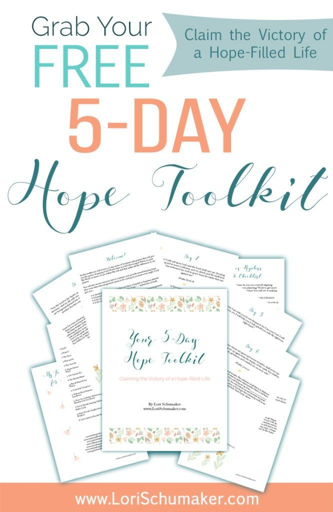 "The 5-Day Hope Toolkit; Claiming the Victory of a Hope-filled Life - In this toolkit you will receive a 5-day series of Scripture and prayers that will give you the power of praying God's Word when you feel discouraged. When we pray His Word, we know we are within His will and that makes all the difference in our prayers. Included is: • A checklist to determine whether you have a hopeful or hopeless attitude. • A beautiful printable image with positive ""I am …."" statements of truth. • A…"