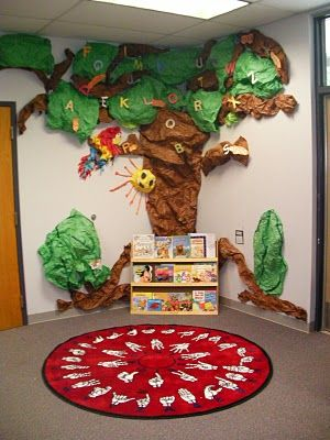 This large tree that spreads over two walls is a great idea for a corner reading display and reading area.