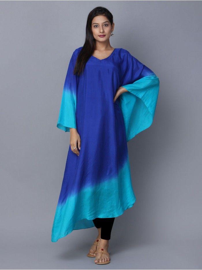 Blue Turquoise Ombre Silk Kaftan