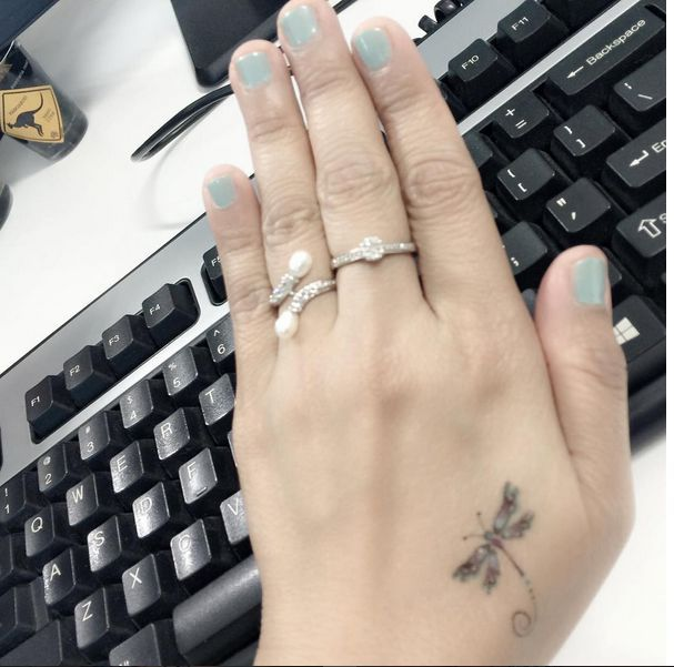 coolTop Women Tattoo - small dragonfly tattoo on hand #ink #Youqueen #girly #tattoos...