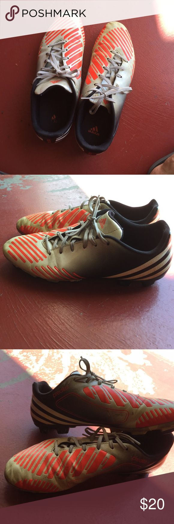 Adidas Predito Cleats Men's Black, Grey, and white(ish) cleats from adidas. It has been very used. I played with these for about two years. Still in good condition. I will clean them to the best of my ability. Size 11.5 in men's Adidas Shoes Athletic Shoes