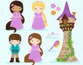 RAPUNZEL Digital Clipart , Rapunzel Fairytale Clipart,  Princess Rapunzel