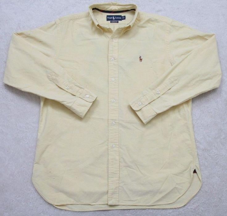 Ralph Lauren Yellow Dress Shirt Solid Long Sleeve Mens Large Classic Fit Man #RalphLauren #dressshirt