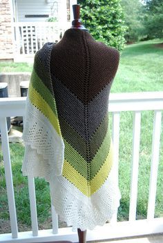 Transition Stash-buster Shawl - Karen Lauger (Shown in worsted weight, but could be done in fingering. Great for minis!) #MiniSkeinMonday