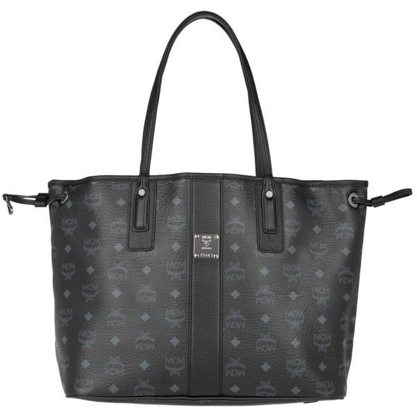 MCM Shoulder Bag - Shopper Liz Shopping Bag Medium Black - in grey,... ($610) ❤ liked on Polyvore featuring bags, handbags, leather drawstring pouch, leather purses, gray leather purse, leather handbags and faux leather handbags
