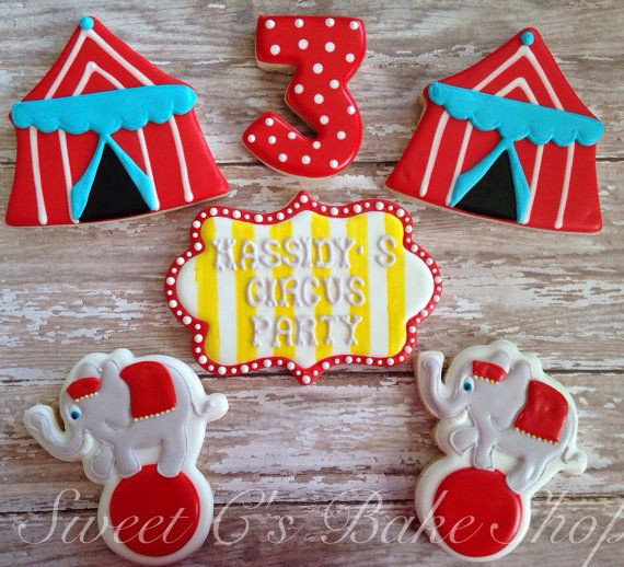 This Listing is for 1 Dozen Circus Cookies   *For an additional charge of $5 a message cookie can be added to your order.  These cookies are made