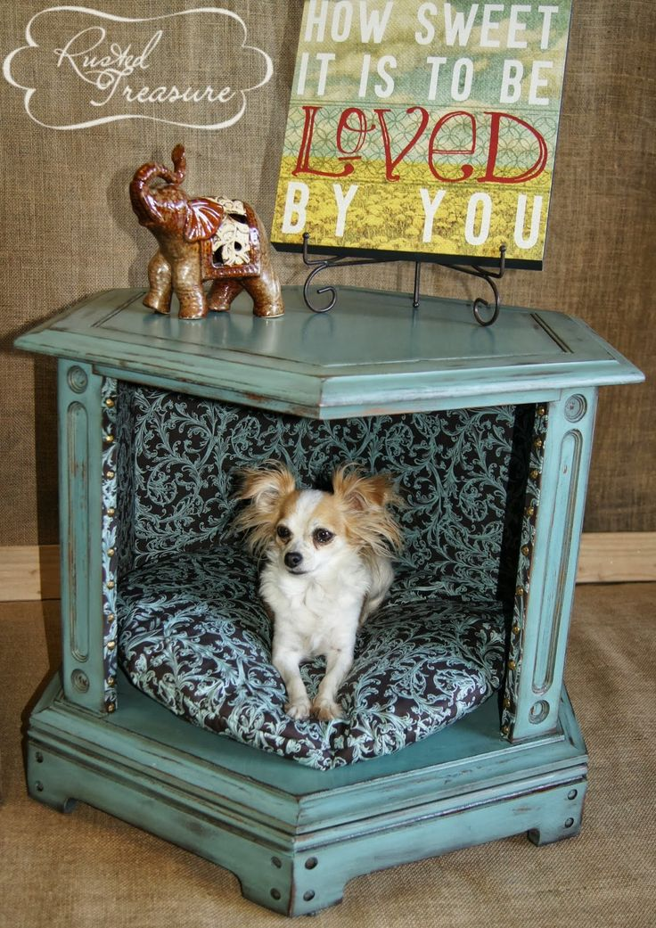 DIY End Table Dog Beds (before and after) Refinished and distressed