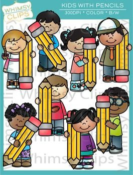 This cute kids with pencils clip art set features 8 kids with big pencils. This set contains 16 image files, which includes 8 color images and 8 black & white images in png and jpg. All images are 300dpi for better scaling and printing. $