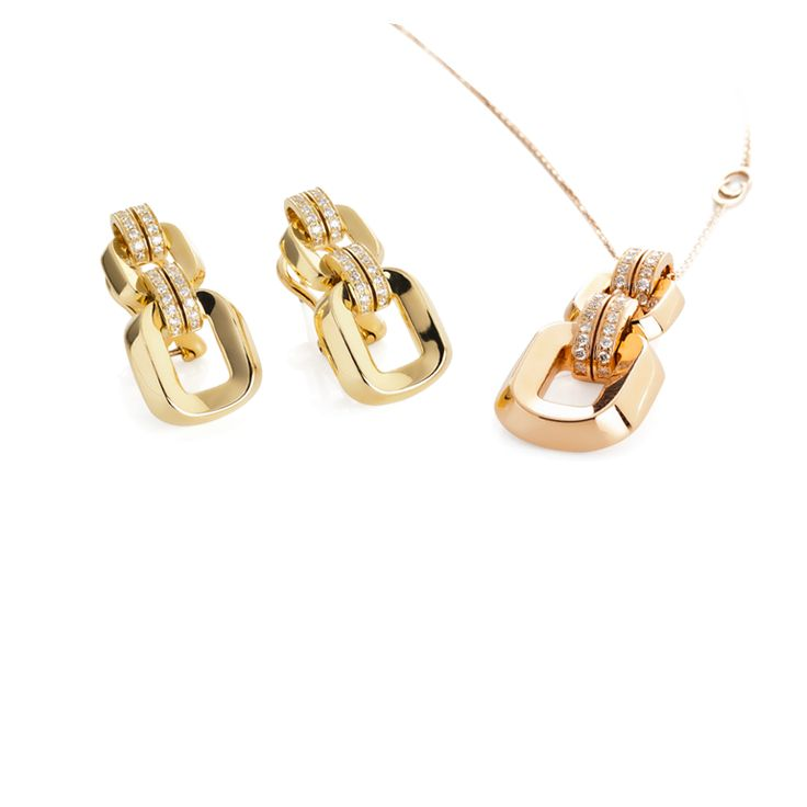 CHIMENTO Febo yellow and rose gold with diamonds earrings and necklace.