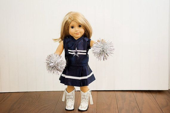 American Girl Doll NFL Dallas Cowboys football cheerleader outfit with Pom poms