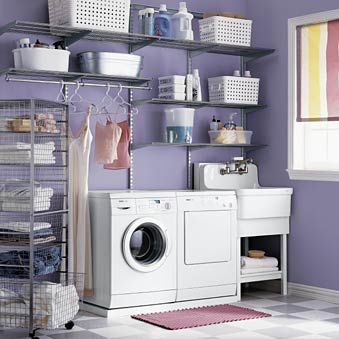 If no sink, then shelves. Ironing board in place of roller cart. Drying rack on wall.