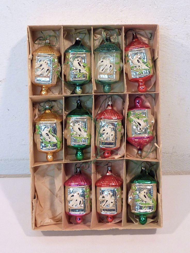 ALTER CHRISTBAUMSCHMUCK VOGELHÄUSCHEN LAUSCHA GLAS 11TEILE IN OVP UM 1950 | eBay