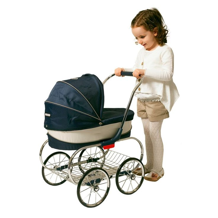 This luxurious Classic Dolls Pram is fit for every prince and princess. All dolls will love to go for a stroll to the park, garden, beach or wherever in their pram! Classic Dolls Pram features an adjustable hood, chrome chassis, chrome basket and removable carry cot.