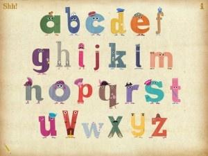 The Ministry of Letters er er en række syngende bogstaver, som er tegnet i lyse, indbydende farver.    Klik og læs en gennemgang af app'en på bloggen borneboger.nu.