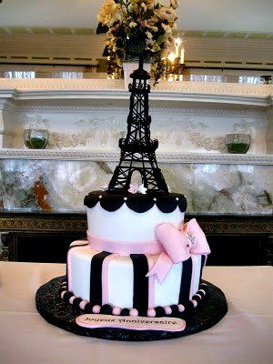 Parisian theme cake with sweet detail.  ᘡղbᘠ