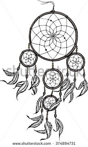 Hand-drawn dreamcatcher with feathers. Ethnic illustration