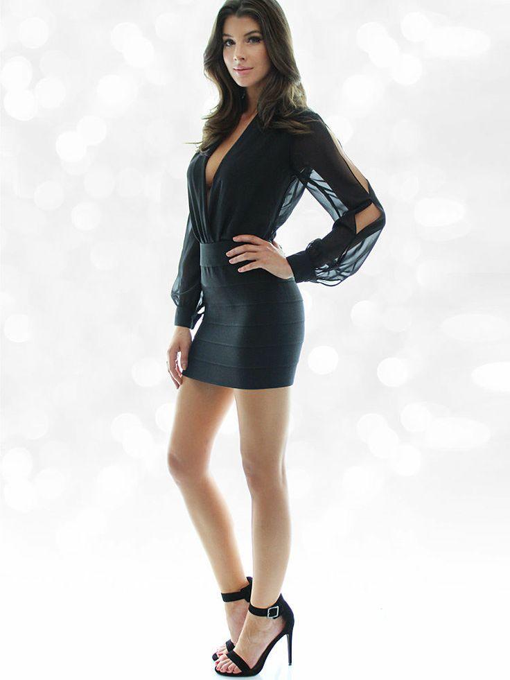 Slit Sleeve Cowl Neck Bodysuit Cora Skinner Cowl Neck