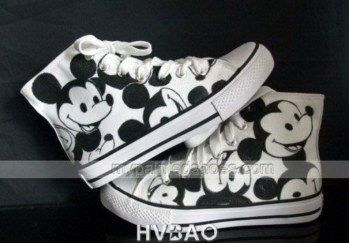 High Top Mickey Mouse White Black Hand Painted Canvas Sneaker,High-top Painted Canvas Shoes