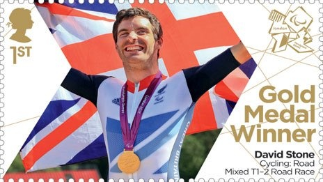 Paralympics Gold Medal Winner stamp - Cycling: Road Mixed T1-2 Road Race, David Stone.