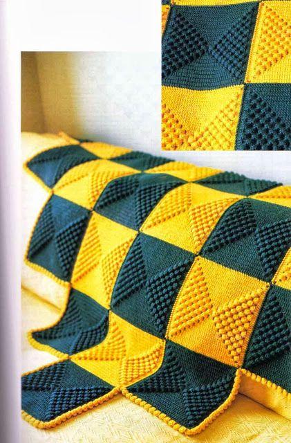 Crochet Knitting Artigianato: Coperte verde giallo