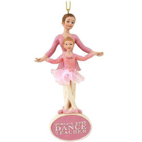 Worlds Best Dance Teacher Ballet Teacher With Ballerina Girl Ornament. Cute gift for my teacher friends