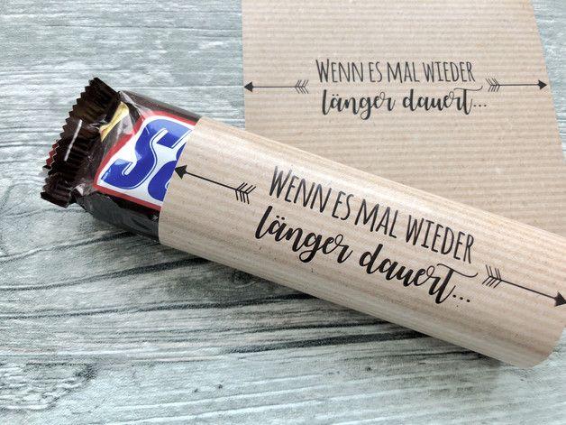 Banderolen für die Hochzeit, Wenn es mal wieder länger dauert, Hochzeitsbevorzugungsgeschenk, Schokoladenbänder für die Hochzeit, Schokoriegel, Snickers