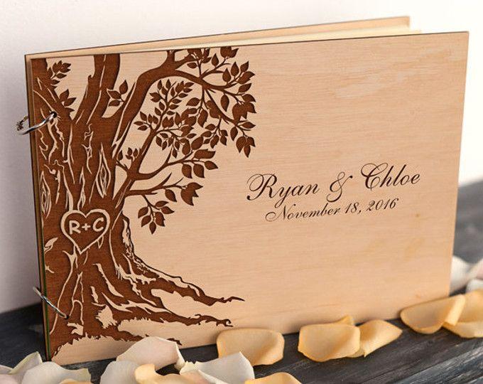 Árbol de boda libro de visitas, madera personalizado boda libro de visitas, rústico, nupcial ducha libro, libro de visitas, regalo para la pareja, aniversario de boda