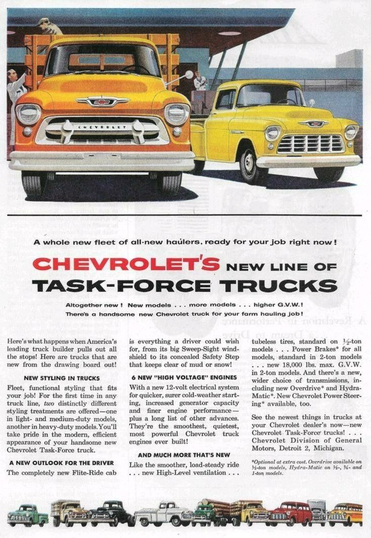 1955 Chevrolet Truck Ad New Chevrolet Trucks Chevrolet Trucks