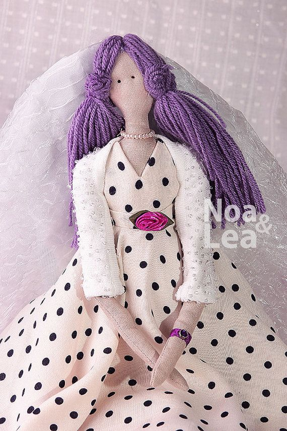 Candice - Tilda inspired Doll, Elegant Lady Doll, tulle underskirt, Pin Up Doll, Tall Doll, cream & violet, retro style doll, polka dot doll