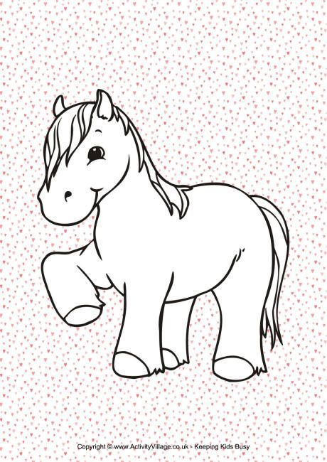 pony heart colouring page  heart coloring pages