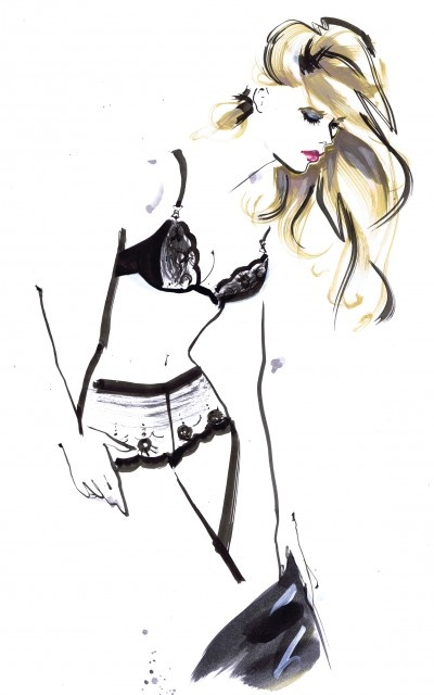 #lingerie fashion illustration Jacqueline Bissett lingerie illustration