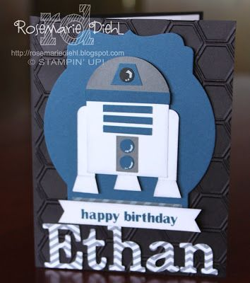 Stampin' Up! Stars Wars Punch Art by Rose's World: R2D2 birthday card!