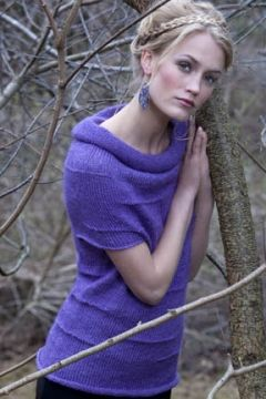 ♥ Tahki Stacy Charles, Inc., Supplying Knitters with Fabulous Fibers and Yarn - Alicia Tubular Pullover in TIVOLI - mauve soft short-sleeved pullover