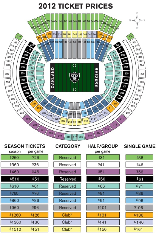 Oakland raiders season tickets