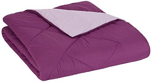AmazonBasics Reversible Microfiber Comforter - Full/Queen, Plum  Full/Queen comforter. Measures 86 x 92 inches  Reversible; plum on one side and light purple on the other  Diamond stitching helps keep fill in place  Easy to care for: machine wash warm on permanent press cycle  Made in OEKO-TEX Standard 100 factory, an independent certification system that ensures textiles meet high safety and environmental standards.