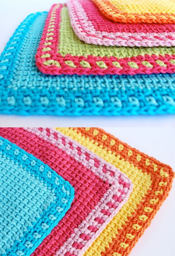 Tunisian Crochet Wash Cloth. Tunisian crochet is a deceptively easy technique that is a little bit crochet, a little bit knitting and looks like weaving: free pattern