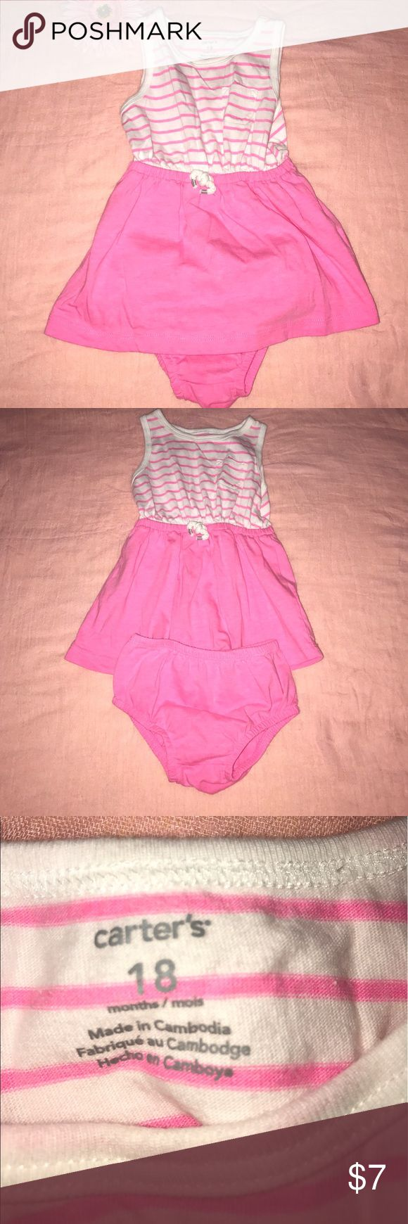 Carter's Sporty Dress Girl 18M Pink White This dress is in great condition! Only worn a few times! Comes with bottoms featured.  All of our clothes come from smoke free home! No stains, no rips, and no tears! This is a real business for us and we strive to only carry and sell the best! Bundle for savings!!! 💜💜💜 Carter's Dresses Casual