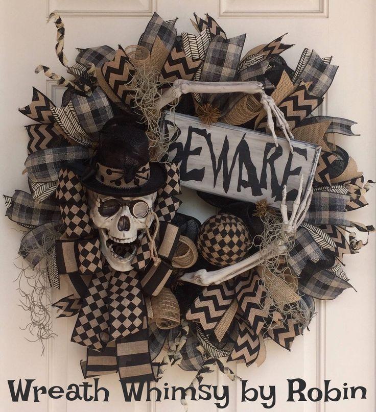 Halloween Deco Mesh Skeleton Wreath in Black & Tan, Skeleton Decor, Fall Wreath, Halloween Decor, Primitive Halloween, Rustic Skeleton by WreathWhimsybyRobin on Etsy