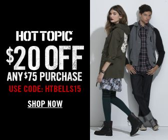 Get $20 Off Orders Over $75 w/Code HTBELLS15 at HotTopic.com! Offer valid 8/6/2015 - 9/5/2015