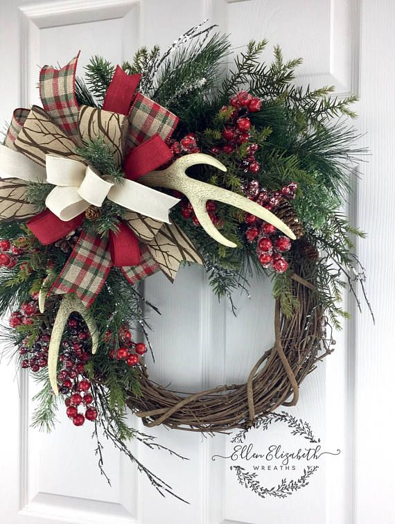 Antler Wreath, Grapevine Christmas Wreath, grapevine Winter Wreath, Winter wreaths for front door, Cabin Wreath, Christmas Antler Wreath A winter grapevine wreath featuring faux antlers would add a rustic touch to your front door. This wreath can adorn your door past the