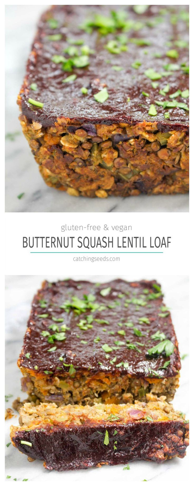 This Butternut Squash Lentil Loaf is the BEST fall entree. It is gluten-free, egg-free, dairy-free, nut-free, and vegan!