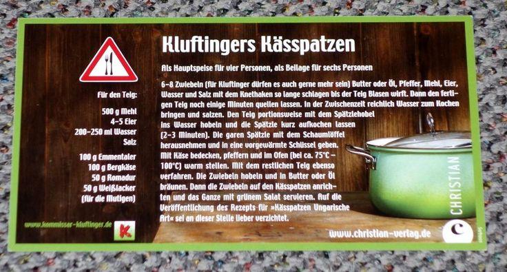 Postkarte. Komissar Kluftinger, Kluftingers Kässpatzen, Allgäu, Rezept