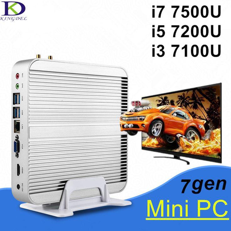 [Core i7 7500U i5 7200U i3 7100U] 7th Gen. Kaby Lake Mini PC,Windows10 Fanless Mini Computer TV Box 4K HD Display HTPC 300M Wifi