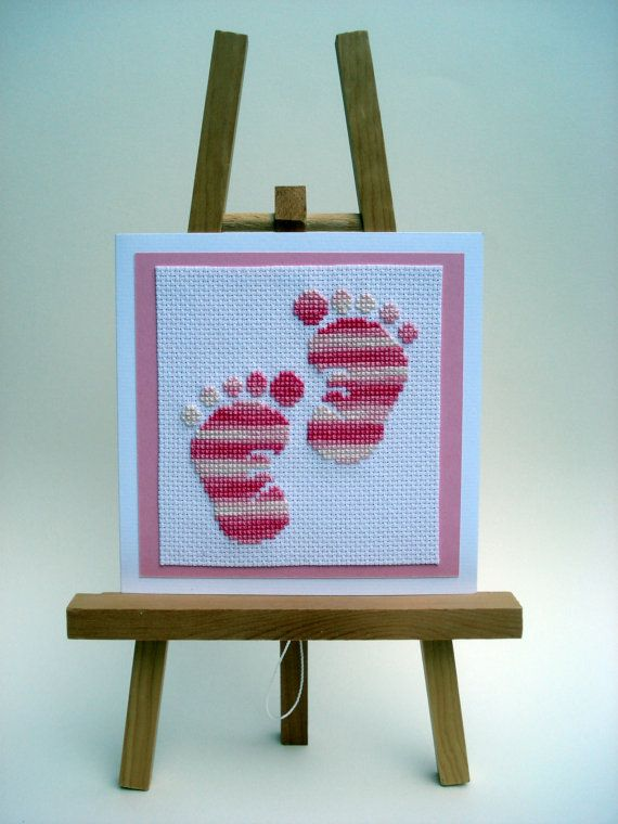 Pink Cross Stitched Baby Footsteps Card. Would have to do in blue for my Grandson.