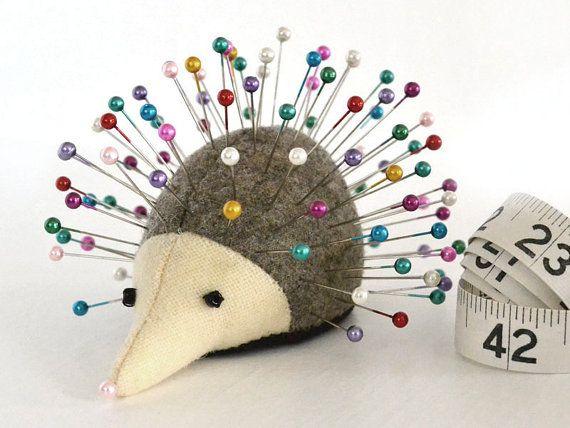 Pincushion, Hedgehog, upcycled wool, handmade, Rosemary Rue