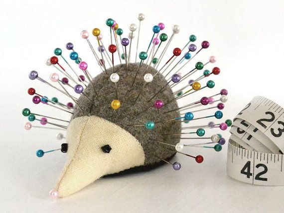 Handmade with upcycled wool fabric, Rosemary Rue the Hedgehog pincushion will keep you company as you sew! My talented mother designed and