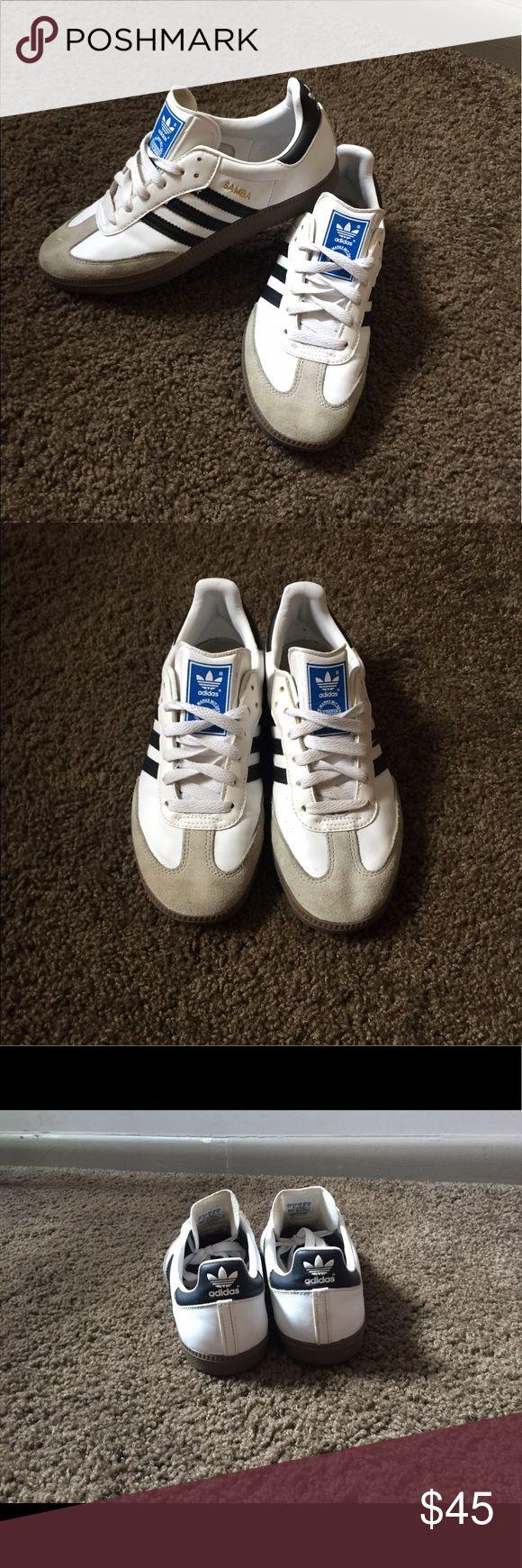 White Adidas Samba Classics Unisex white adidas samba classics. Size 7. Slightly worn. adidas Shoes Athletic Shoes