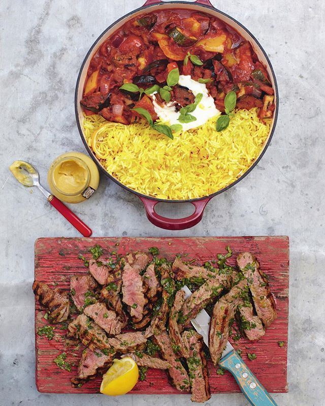 Quick and easy to prepare grilled steak ratatouille with saffron rice healthy and absolutely delicious. Recipe over on my website lovely people X #recipeoftheday #dinnertonight apparently also looks like a Pokéball 😜