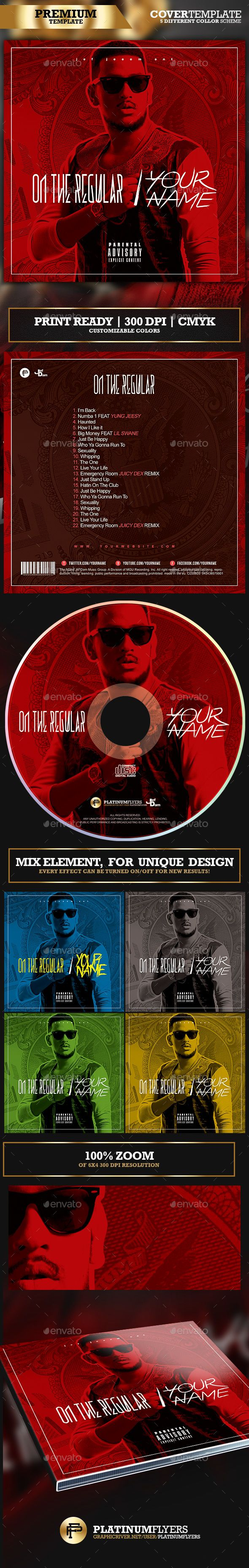 On The Regular Trap Mixtape Album #CD #Cover Template - Print #Templates Download here: https://graphicriver.net/item/on-the-regular-trap-mixtape-album-cd-cover-template/19537265?ref=alena994
